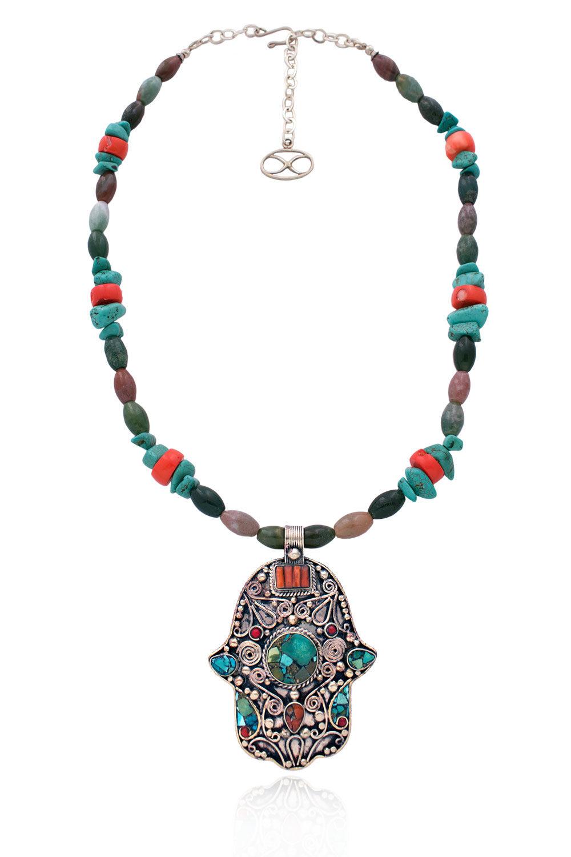 Kunsulu Statement Hamsa Gemstone Necklace by SHIKHAZURI