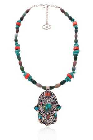 Kunsulu Statement Hamsa Gemstone Necklace by SHIKHAZURI