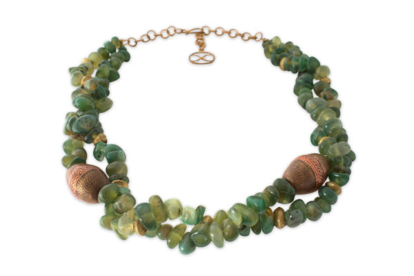 Lin Twisted Green Jade Stone Necklace by SHIKHAZURI
