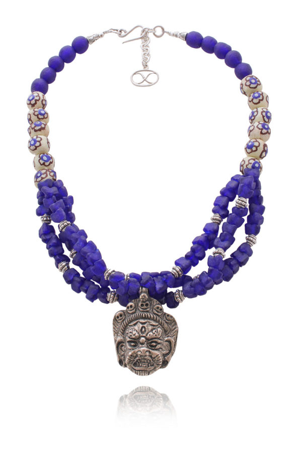 Oni Tibetan Mahakala Ghana Glass Necklace by SHIKHAZURI