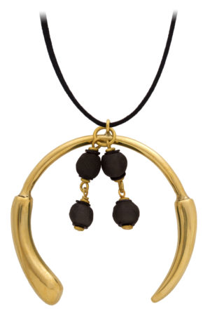 Nyeusi Black Aza Grande Necklace Suede Cord by SHIKHAZURI