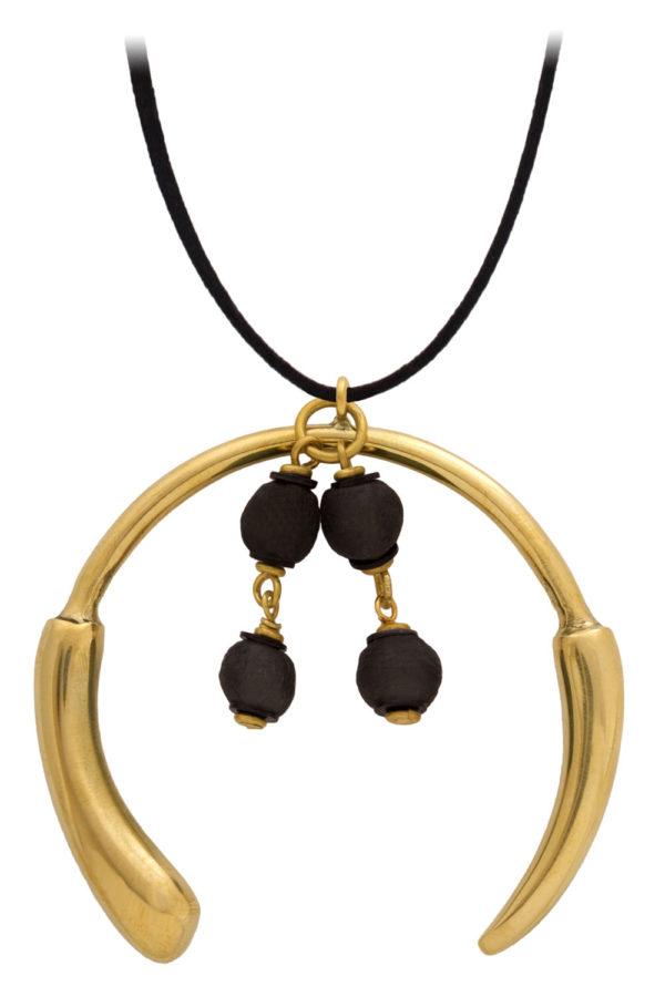 Nyeusi Black Aza Grande Necklace Suede Cord by SHIKHAZURI