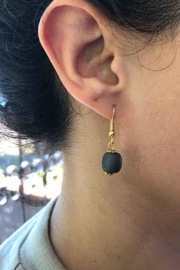 Black Jiona Earrings Modelled by SHIKHAZURI