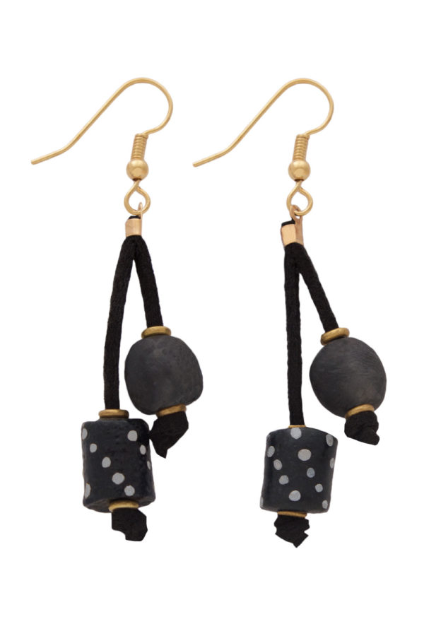 Black Nadira Double Drop Earrings by SHIKHAZURI