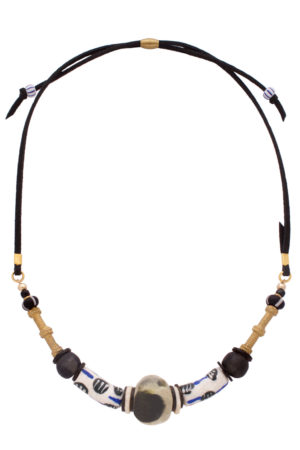 Black Nyeusi Nadira Petite Necklace by SHIKHAZURI