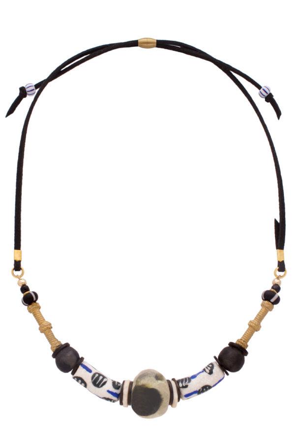 Black Nyeusi Nadira Petite Necklace by SHIKHAZURI