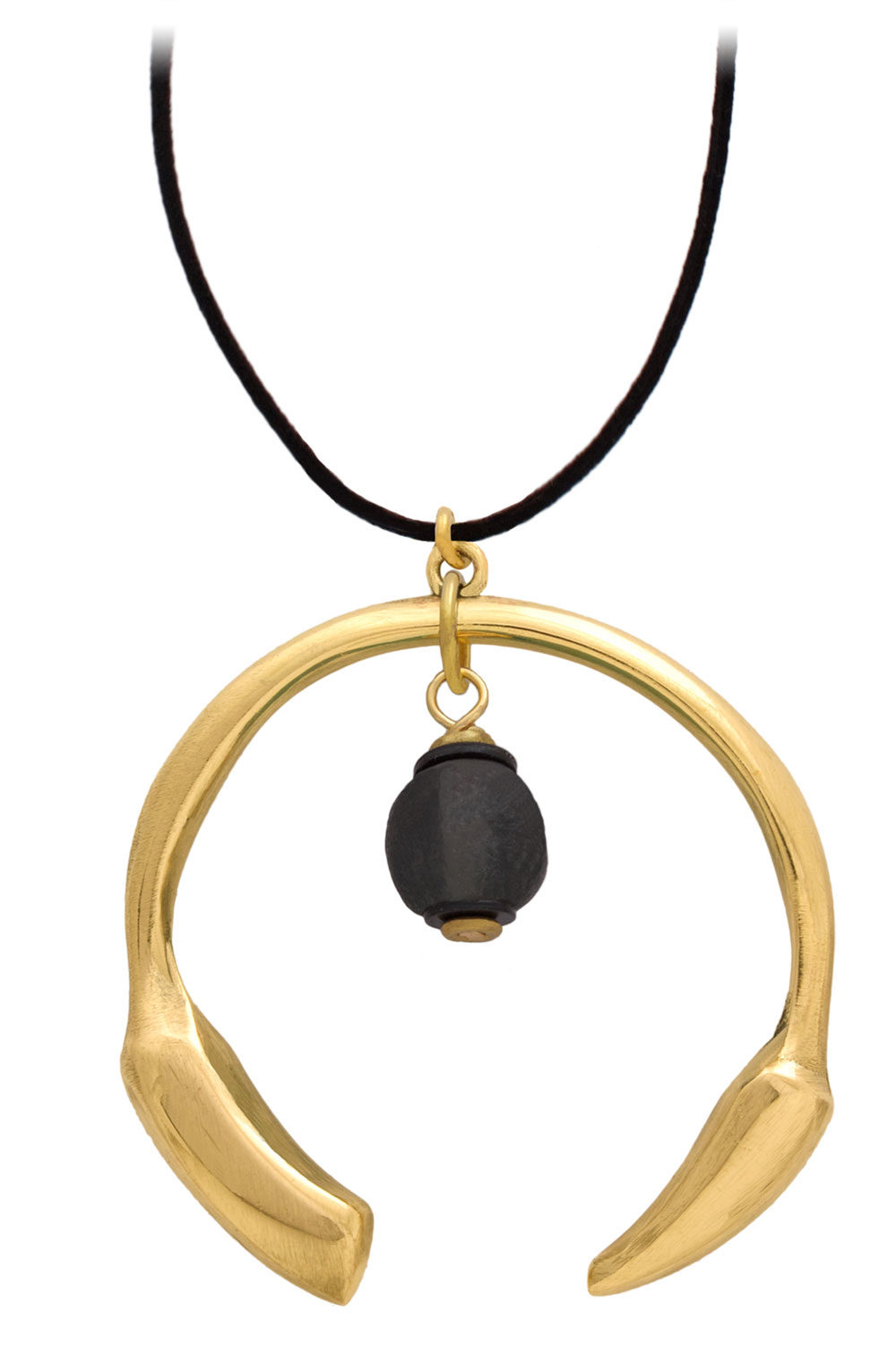 Nyeusi Black Aza Petite Necklace Suede Cord by SHIKHAZURI