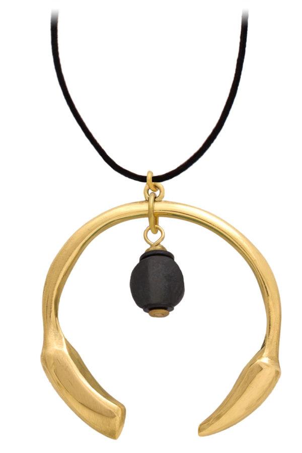 Nyeusi Black Aza Petite Necklace Suede Cord by SHIKHAZURI