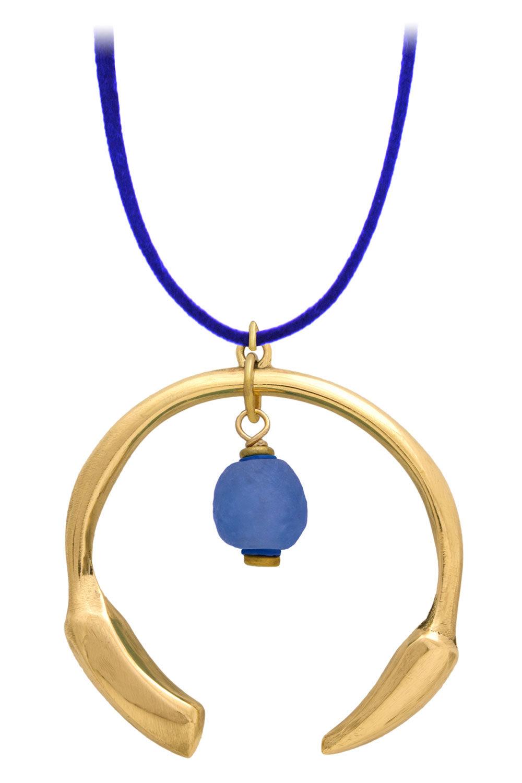 Samawati Blue Aza Petite Necklace Suede Cord by SHIKHAZURI