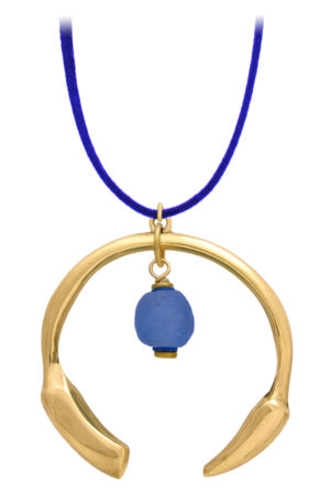 Samawati Blue Aza Petite Necklace Suede Cord by SHIKHAZURI