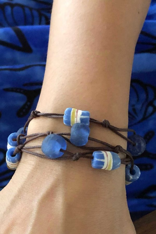 Blue Bead Jiona Brown Cord Wrap Bracelet Model SHIKHAZURI