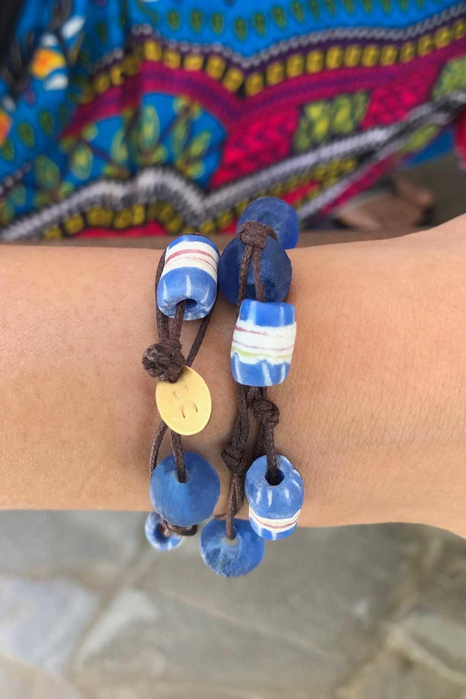 Blue Jiona Bracelet Brown Cord by SHIKHAZURI Modelled