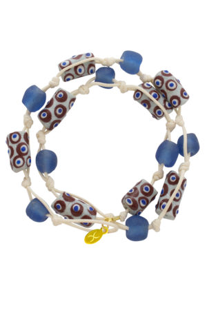 Blue Jiona Ivory Wrap Bracelet by SHIKHAZURI