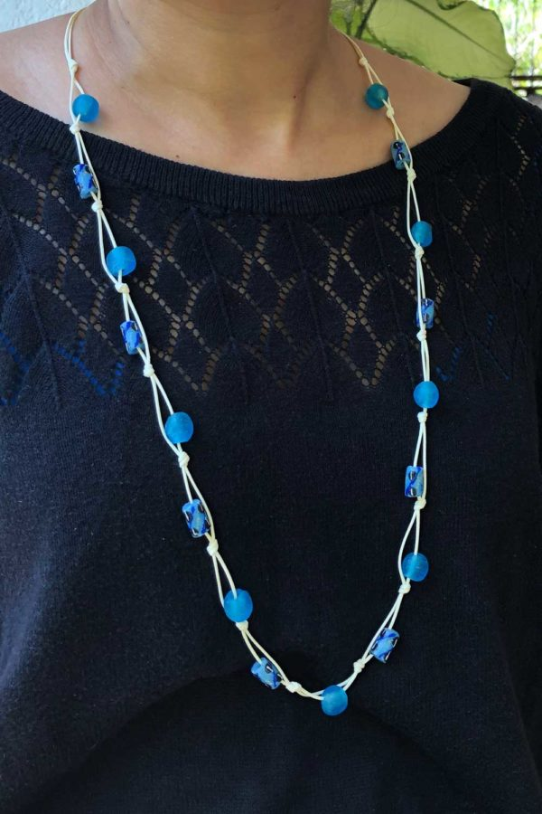 Blue Jiona Knot Necklace Ivory Cord Modelled by SHIKHAZURI