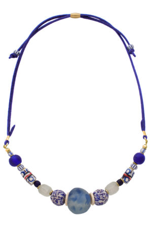 Blue Samawati Nadira Petite Necklace by SHIKHAZURI
