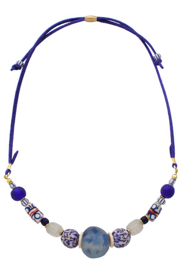 Blue Samawati Nadira Petite Necklace by SHIKHAZURI