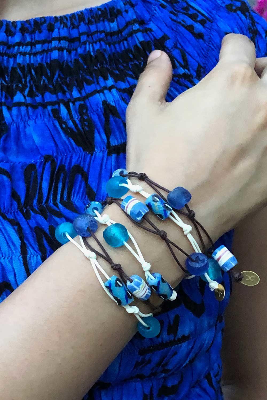 Blue Wrap Jiona Bracelets Blue Dress by SHIKHAZURI