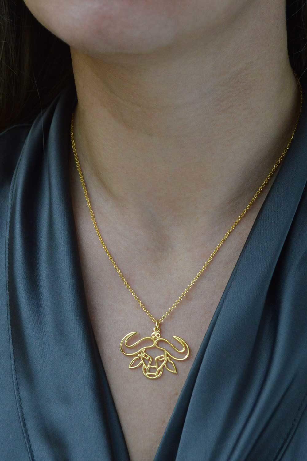 Buffalo Gold Plated Necklace Formal Wear by SHIKHAZURI