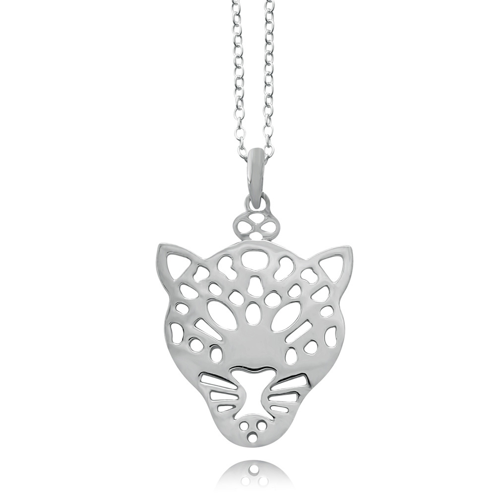 Leopard Silver Plated Necklace by SHIKHAZURI