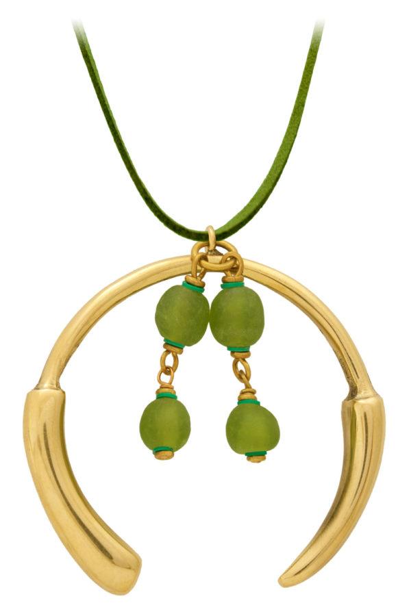 Kijani Green Aza Grande Necklace Suede Cord by SHIKHAZURI