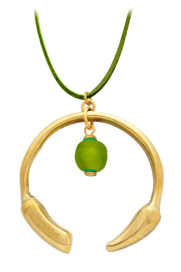Kijani Green Aza Petite Necklace Suede Cord by SHIKHAZURI