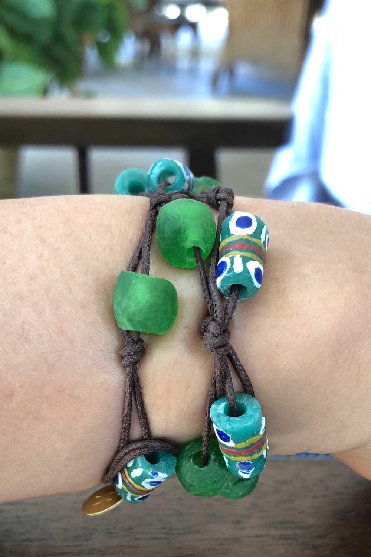 Green Bead Jiona Knot Bracelet Brown Cord by SHIKHAZURI Model