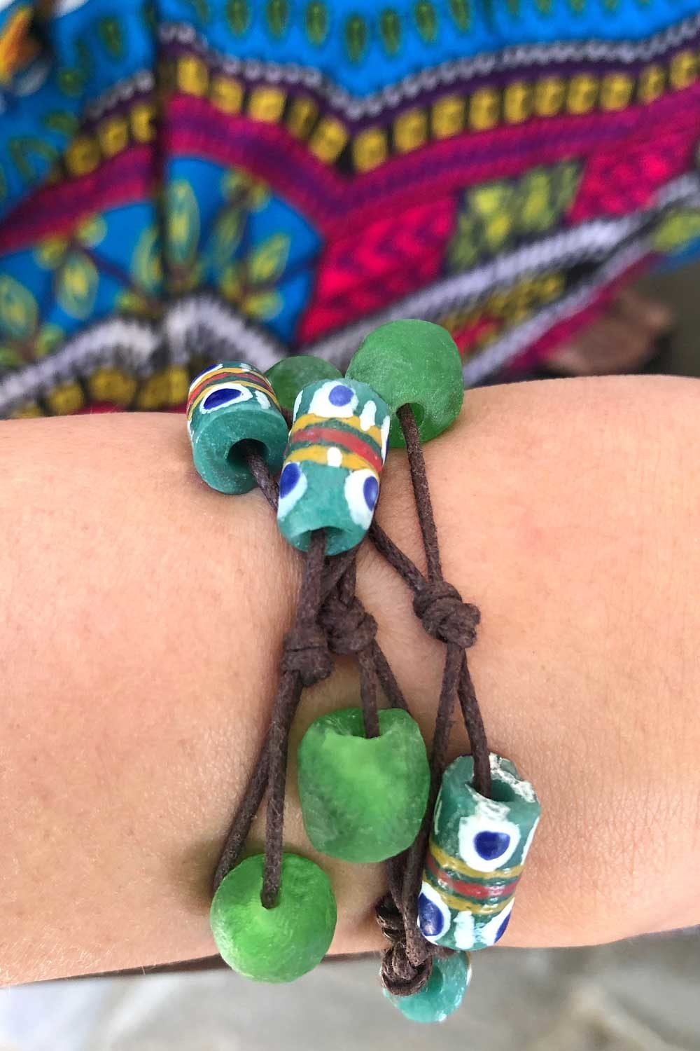 Green Bead Jiona Knot Bracelet Brown Cord Modelled by SHIKHAZURI