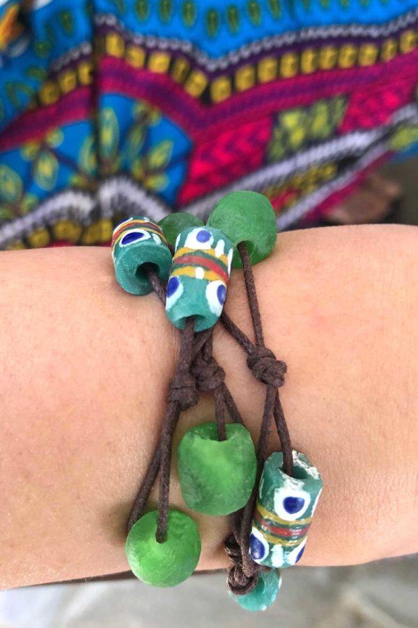 Green Bead Jiona Knot Bracelet Brown Cord Modelled by SHIKHAZURI