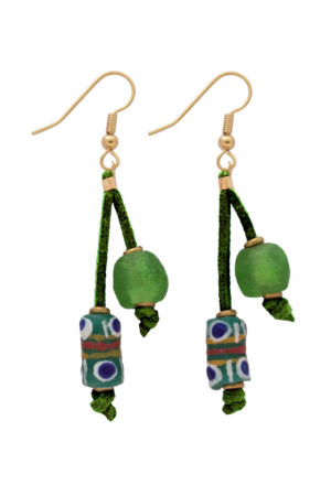 Green Nadira Double Drop Earrings by SHIKHAZURI