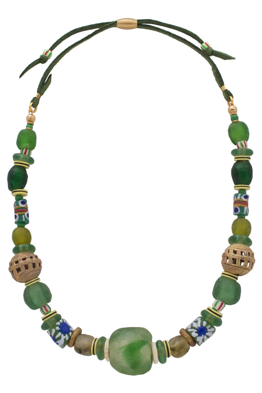 Kijani Green Nadira Grande Necklace by SHIKHAZURI