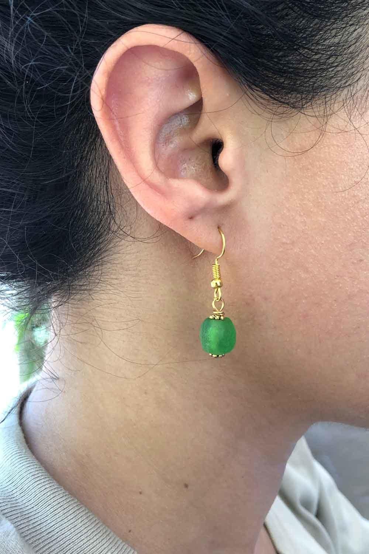 Green Jiona Earrings Modelled by SHIKHAZURI