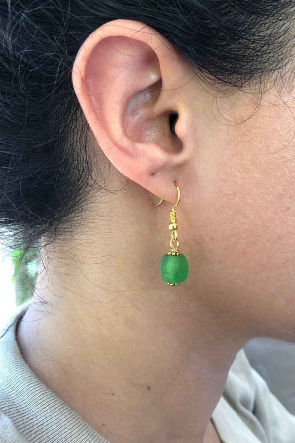 Green Jiona Earrings Modelled by SHIKHAZURI