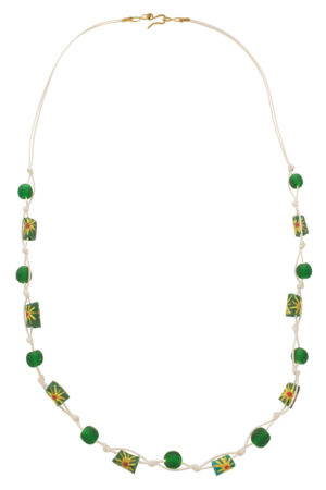 Green Jiona Ivory Knot Necklace by SHIKHAZURI