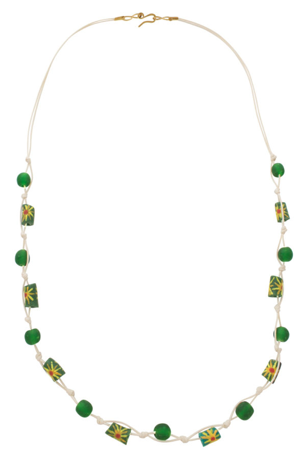 Green Jiona Ivory Knot Necklace by SHIKHAZURI