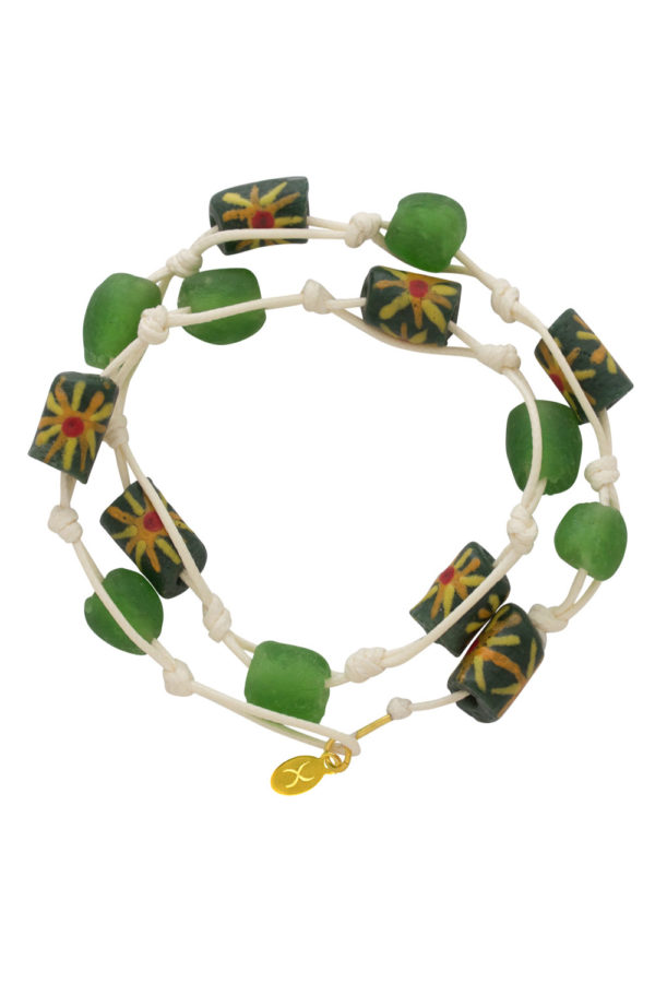 Green Jiona Ivory Wrap Bracelet by SHIKHAZURI