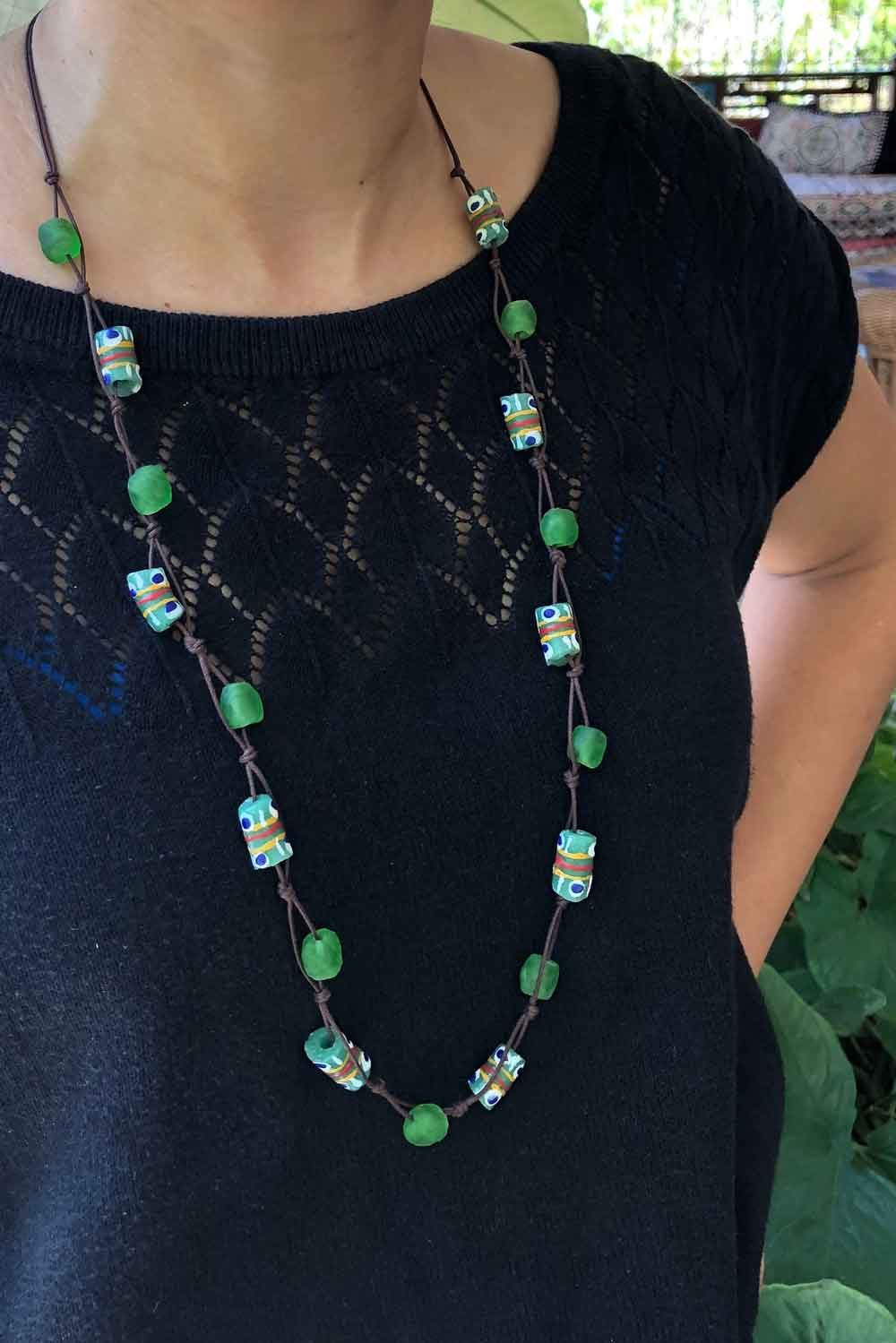 Green Jiona Knot Necklace Brown Cord by SHIKHAZURI Modelled