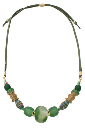 Green Kijani Nadira Petite Necklace by SHIKHAZURI