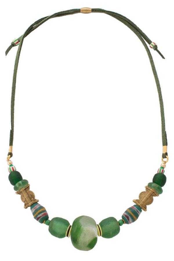 Green Kijani Nadira Petite Necklace by SHIKHAZURI