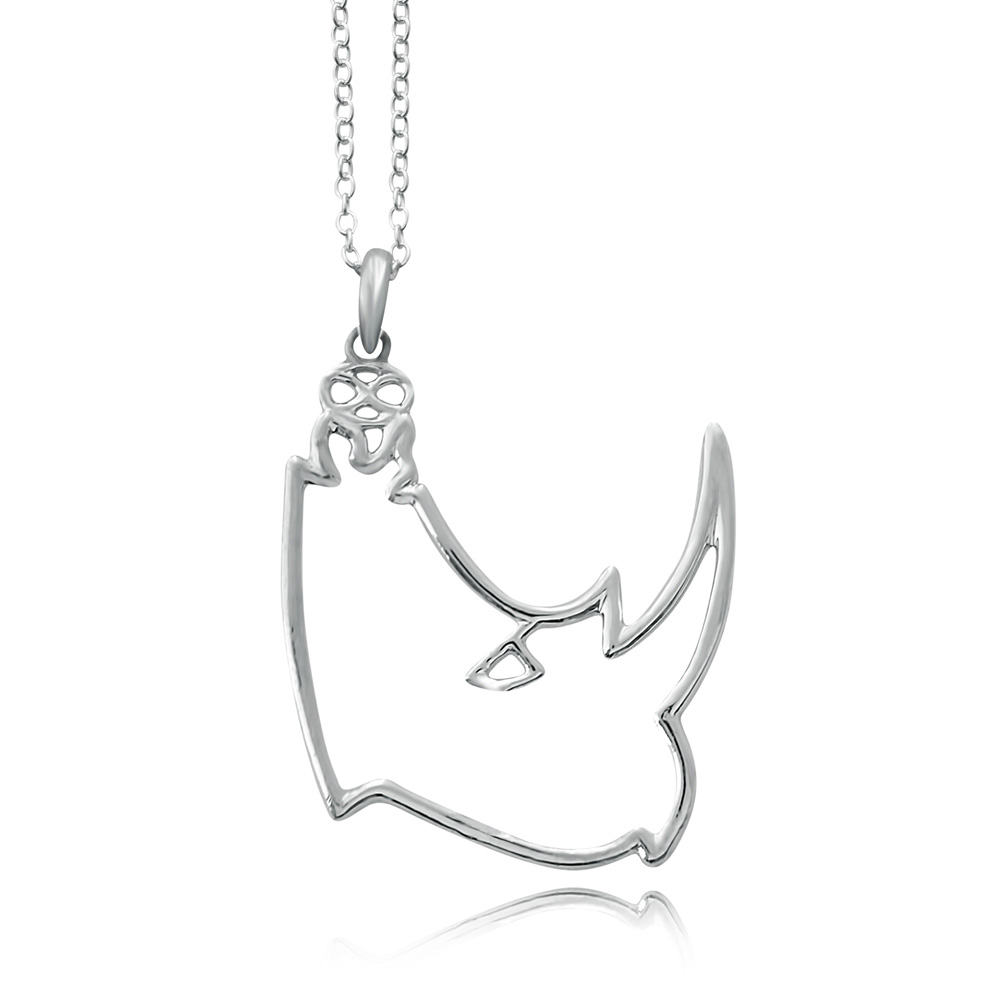 Kifaru Rhino Silver Plated Necklace by SHIKHAZURI