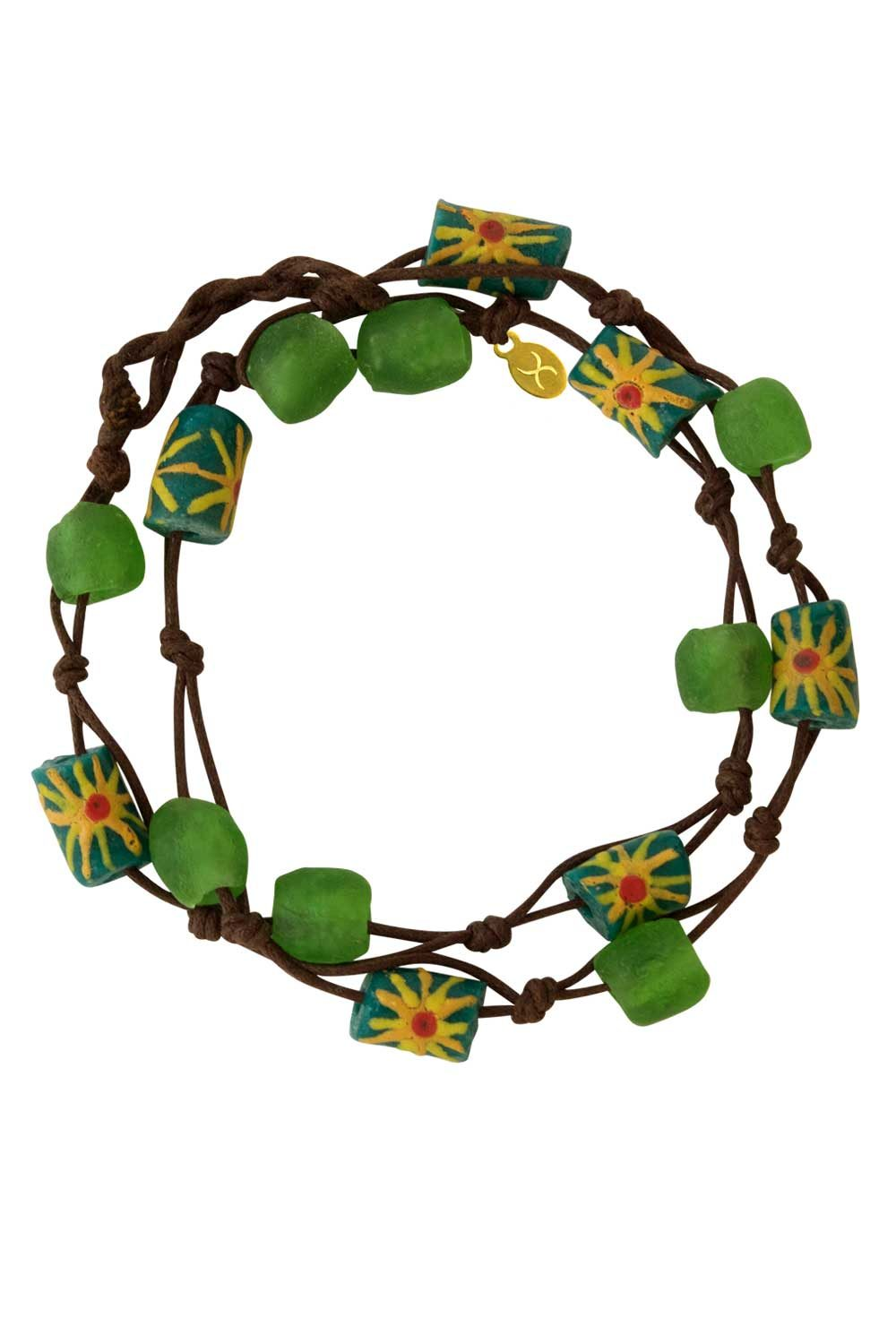 Green Jiona Brown Wrap Bracelet by SHIKHAZURI