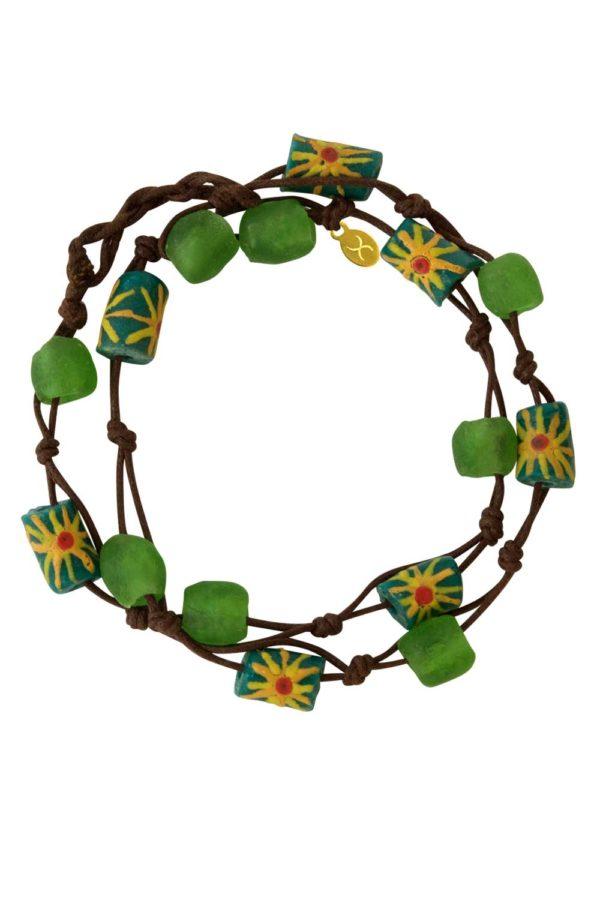 Green Jiona Brown Wrap Bracelet by SHIKHAZURI