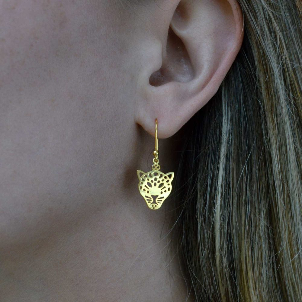 Leopard Gold Plated Earrings Close Up by SHIKHAZURI