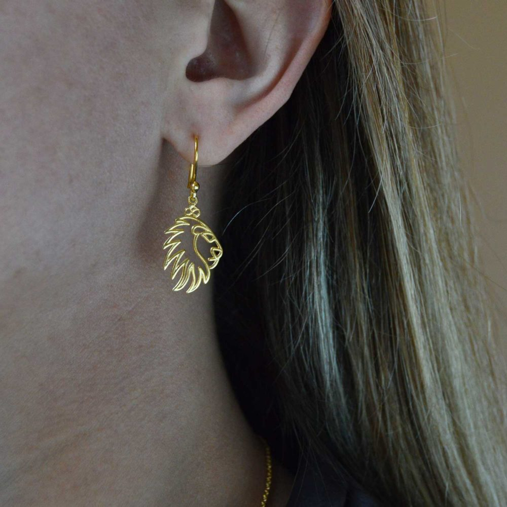 Lion Gold Plated Earrings Modelled by SHIKHAZURI