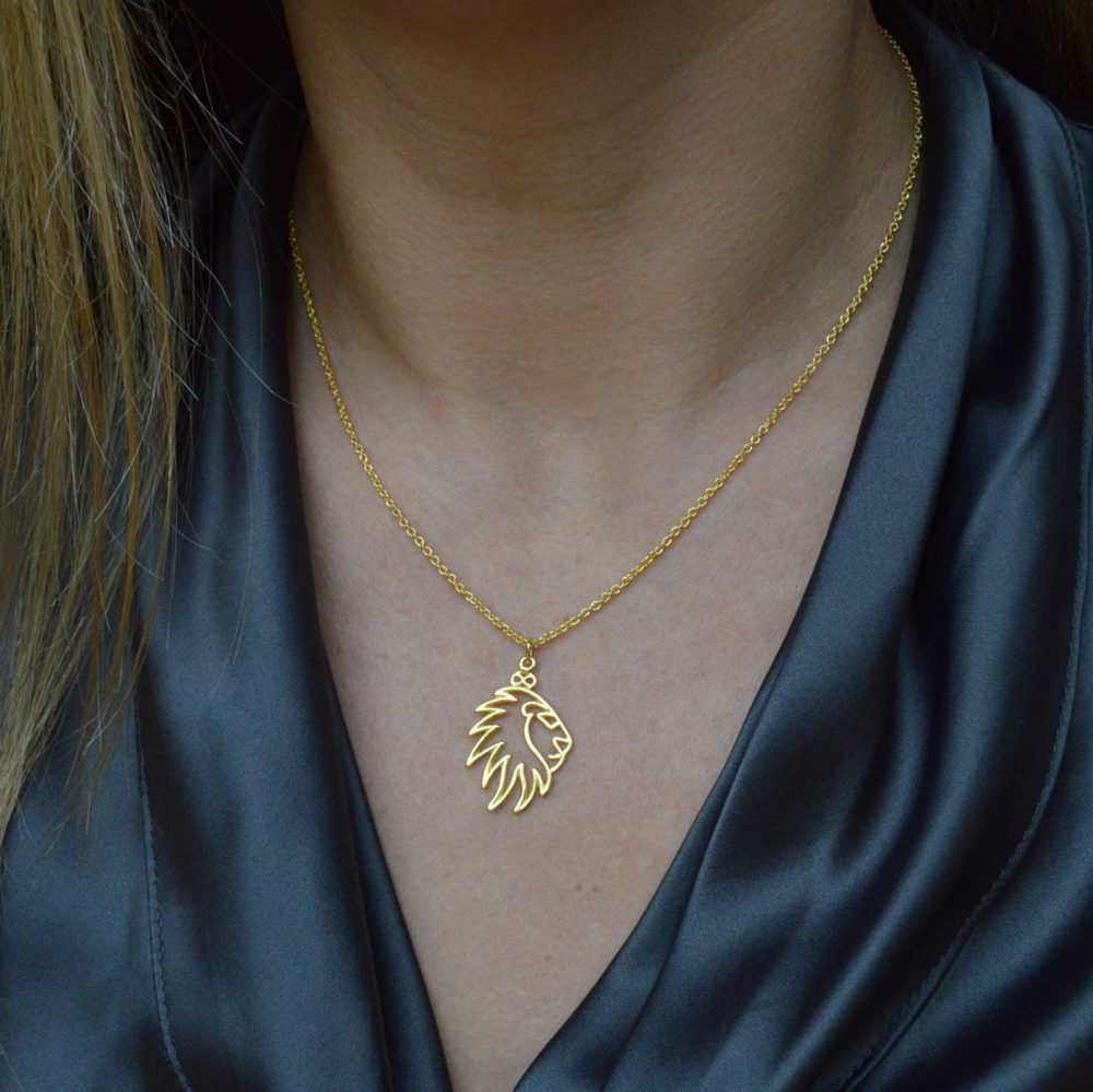 Lion Gold Plated Necklace Chic Style by SHIKHAZURI