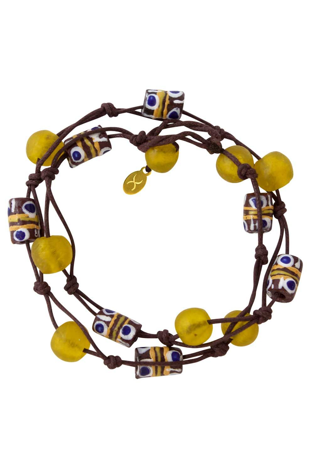 Yellow Jiona Brown Wrap Bracelet by SHIKHAZURI