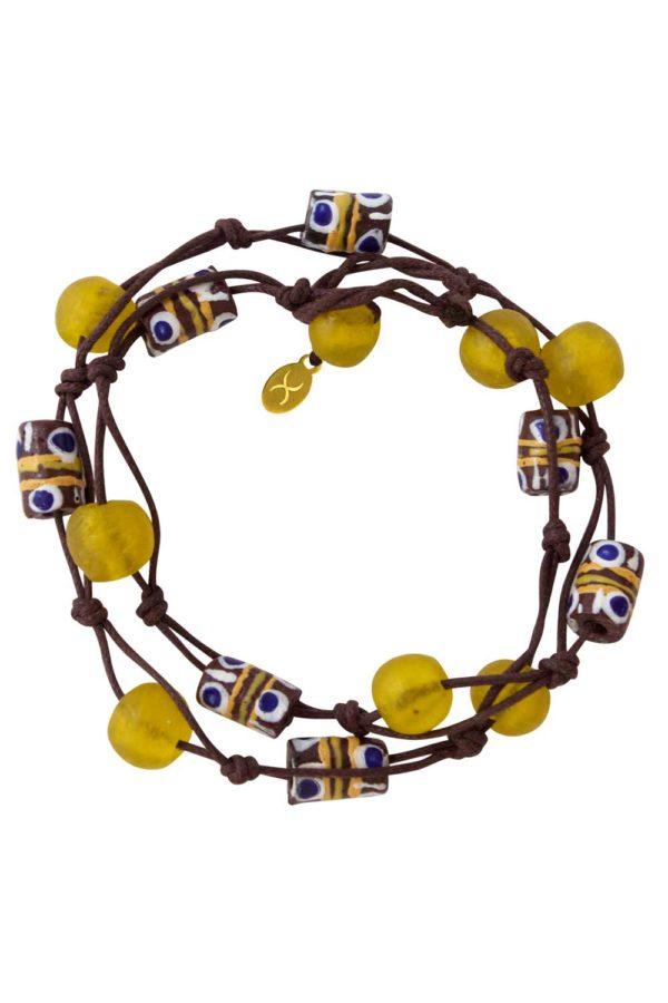 Yellow Jiona Brown Wrap Bracelet by SHIKHAZURI