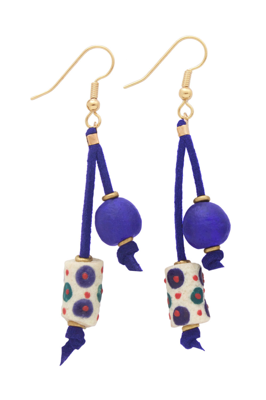 Blue Nadira Double Drop Earrings by SHIKHAZURI