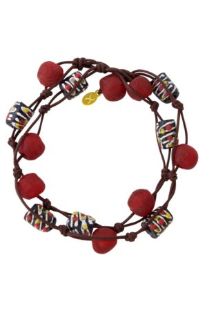 Red Jiona Brown Wrap Bracelet by SHIKHAZURI