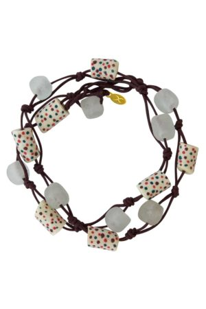 White Jiona Brown Wrap Bracelet by SHIKHAZURI