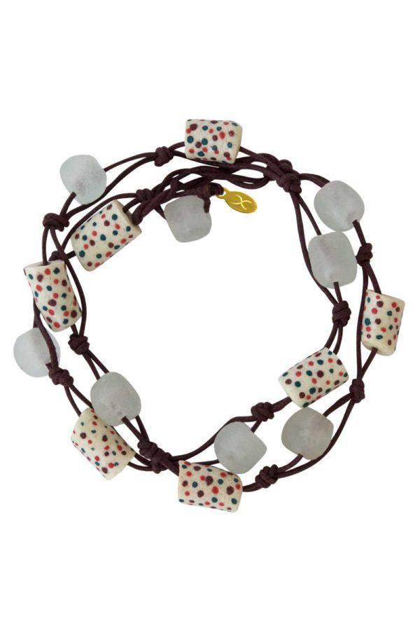 White Jiona Brown Wrap Bracelet by SHIKHAZURI